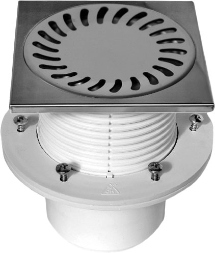 Floor drain with collar - stainless DN 110 (PV110N-PR4)