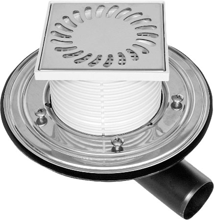 Uni side floor drain with a stainless grid and collar (PVBU50PR)