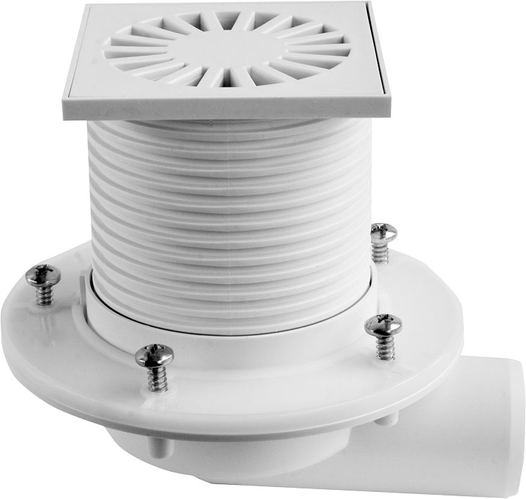 Side floor drain with collar - plastic grid DN 50 (PVB50P-PR1)