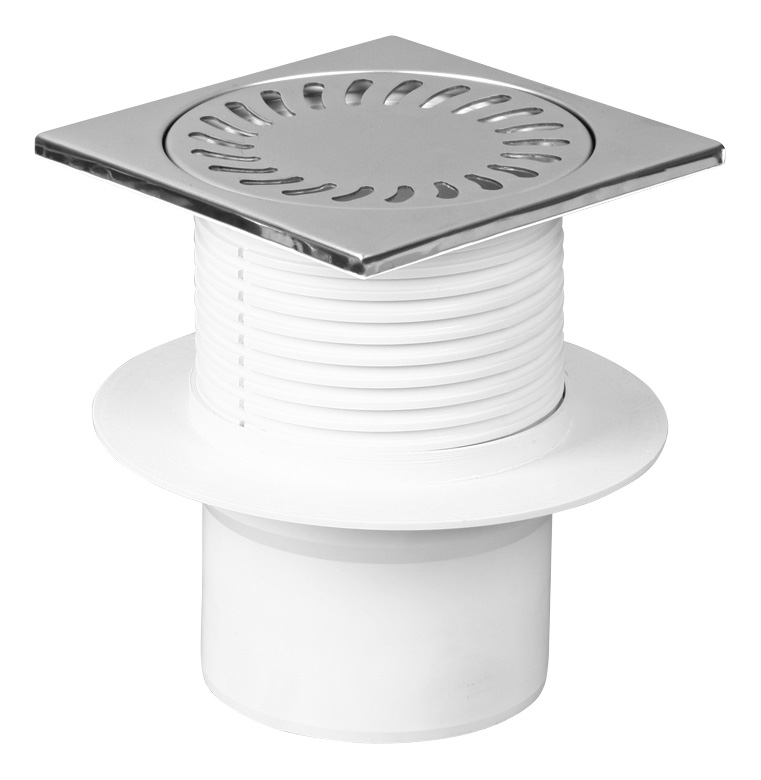 Foor drain with collar, round, stainless grid DN 50 (PV110N-L4)